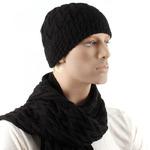 Комплект муж DMD-КЗ-013/3 шапка (подклад-флис) +шарф; шерсть 30%, акрил 70%, черный