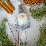 """Мягкая подвеска """"Дед Мороз"""" с бубенчиками 6*11 см"""