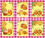 Ткань Вафельное полотно набивное Мёд