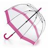 Fulton прозрачный зонт-трость (розовый кант)