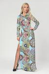 Платье Батник с разрезом в пол (голубые узоры)