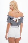 Бело-Черная Короткая Блуза В Полоску 21530