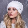 Женская шапка «Майя» Без Помпона, Флис, Под закрепку, Белый