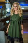 Платье с сеткой хаки 7714