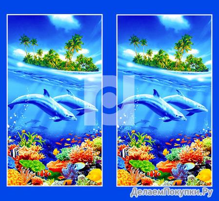 Вафельное полотно Дельфины ширина 150см