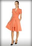 Платье клёш персик
