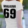 Именная женская футболка Имя с цифрой надпись на спине