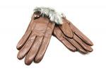 женские кожаные перчатки с мехом №277