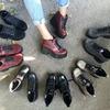 Модные ботиночки на устойчивом каблуке в цветах, кожа!