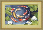 Набор для вышивания МГ-013 Карпы кои (Россия) 23, 4х28, 6 см, Аида кремовая №16, 42 цвета