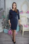 Платье 422 трикотаж нейлон+эко-кожа синяя