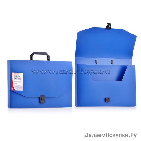 """Папка-портфель A4+ 40 мм с замком синяя 1.00 мм """"Proff. Next"""""""
