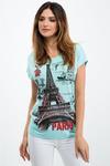 Бирюзовый T-Shirt С Приложением 1676