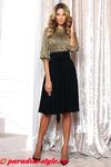 Платье трикотаж листики хаки юбка черная