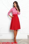 Платье жакард красный лодочка короткая