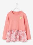 Девочки 2-в-1 эффектом футболка - отпечатано розовый