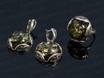 Набор с янтарём кольцо, серьги круг зелёный, размер 20 Артикул:ЯКС1480-20