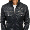 Куртка мужская кожаная черная Denley 3051