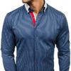 Темно-синяя мужская рубашка элегантный с длинным рукавом Bolf 2790