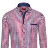 Мужская рубашка в клетку с длинным рукавом и красно-темно-синяя Denley 2146