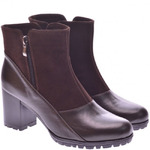 Женские комбинированные ботинки на каблуке (байка/экомех/цигейка - на выбор)