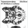 01-59 Термотрансфер Волк и собака 25х35см