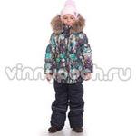 Зимний комплект Kiko для девочки ФЛОРА (бирюза/серый), 4-8 лет