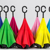 Зонт наоборот - обратный зонт однотонный. С внешней стороны цветные цвета, с внутренней черный Арт: №01692