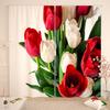 Фотошторы Красно-белый букет тюльпанов