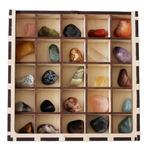 Набор 25 минералов в деревянной коробке 21х21см