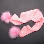 Шарф с помпонами, розовый