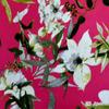 академик трик полотно плотное розовый с цветами (за 0,5 м)