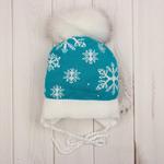 Шапочка с отворотом на завязках для холодной осени и теплой зимы