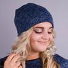 Фэшн. Молодёжные женские шапки. Синий ангора флис.