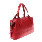 Стильная женская сумочка-бочонок Sofia_Star из натуральной кожи красно-клубничного цвета.