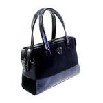 Стильная женская сумочка Gels_Vonse комбинированная с вставками из натуральной замши черного цвета.