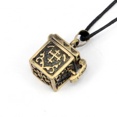 Открывающийся кулон Шкатулка с крестом, цвет бронза, со шнурком