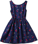AmyStylish Little Girls Summer Cherry Printing Casual Dress