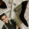Туфли из черной замши на серебряном каблуке Арт. 35-1/42 Serebro