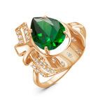 Позолоченное кольцо с фианитом зеленого цвета 770 - п