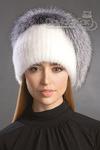 шапка женская Асимметрия норка белая