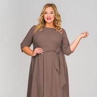 Платье длинное, креп кофе, размер 48-76