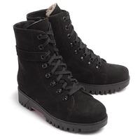 Ботинки зимние женские (шнурки+молния), нубук черный, овчина меховая