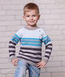 Свитер для мальчика - полоски 672203 от Лютик, цвет тем.серый-голубой