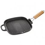 Сковорода-гриль 2509 чугун со складной деревянной ручкой 25*25см
