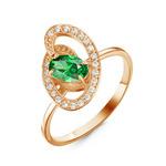 Позолоченное кольцо с фианитом зеленого цвета 034 - п