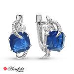 Серебряные серьги с синими фианитами -353
