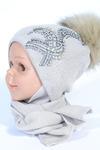 Детский комплект для девочек, 4-10 года (48-52) см обхват головы Зима (утеплёная синтепоном) подклад х/б - лайкра Шерсть 50% - Акрил 50%
