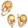 Позолоченное кольцо с фианитом желтого цвета 028 - п