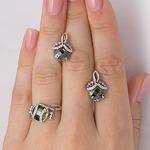 Серебряные серьги с фианитами оливкового цвета 009 Обзор Отзывы 0